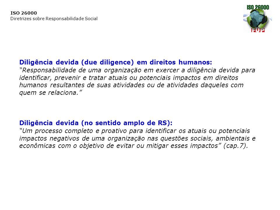 """ISO 26000 Diretrizes sobre Responsabilidade Social ee Diligência devida (due diligence) em direitos humanos: """"Responsabilidade de uma organização em e"""