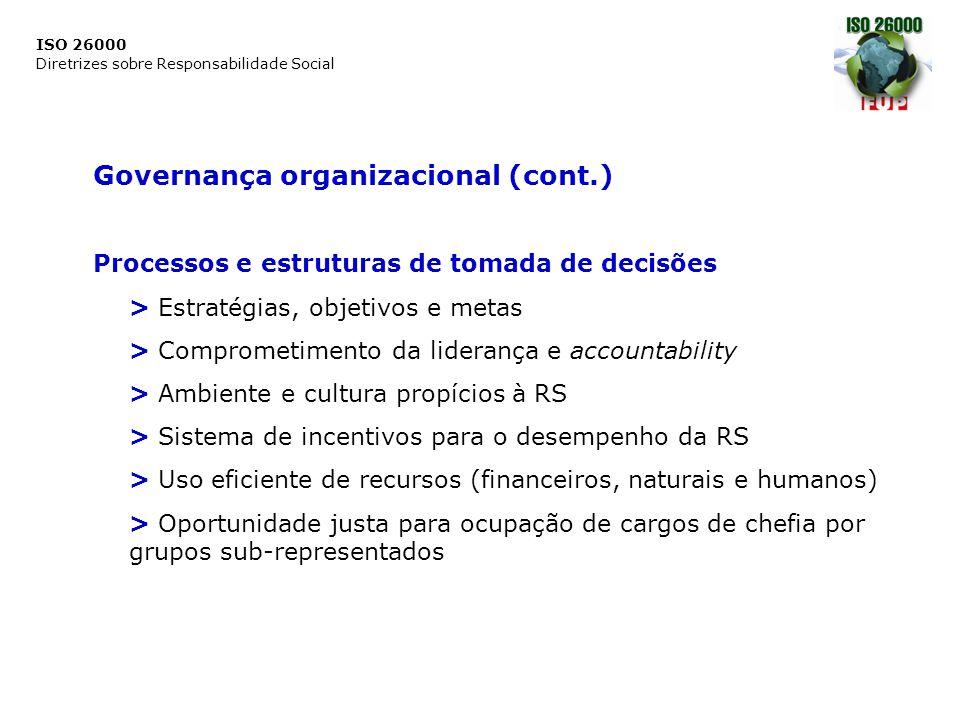 ISO 26000 Diretrizes sobre Responsabilidade Social Governança organizacional (cont.) Processos e estruturas de tomada de decisões > Estratégias, objet