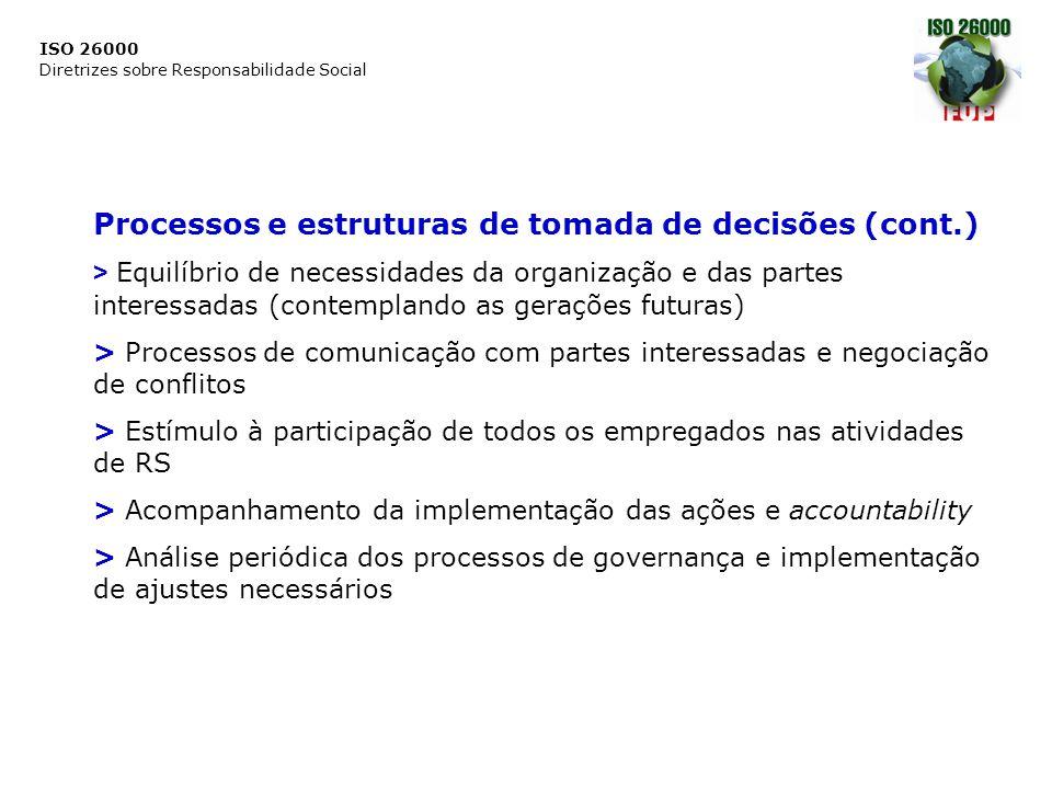ISO 26000 Diretrizes sobre Responsabilidade Social Processos e estruturas de tomada de decisões (cont.) > Equilíbrio de necessidades da organização e