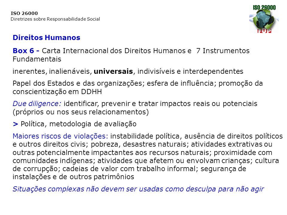 ISO 26000 Diretrizes sobre Responsabilidade Social Questões relativas aos Consumidores Referências > Diretrizes das Nações Unidas para Proteção do Consumidor > Pacto Internacional dos Direitos Econômicos, Sociais e Culturais, > Declaração Universal dos Direitos Humanos, > Declaração do Rio sobre Meio Ambiente e Desenvolvimento, > ISO 10001/10002/10003 sobre Gerenciamento da Qualidade – Satisfação do consumidor Princípios dos Direitos dos Consumidores: segurança, informação, fazer escolhas, ser ouvido, indenização, educação, ambiente saudável Princípios Adicionais: respeito pelo direito à privacidade, abordagem preventiva (ou princípio da precaução), promoção da igualdade de gênero e autonomia das mulheres, promoção de design universal