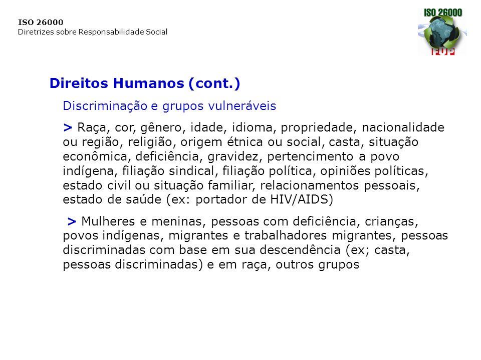 ISO 26000 Diretrizes sobre Responsabilidade Social Direitos Humanos (cont.) Discriminação e grupos vulneráveis > Raça, cor, gênero, idade, idioma, pro