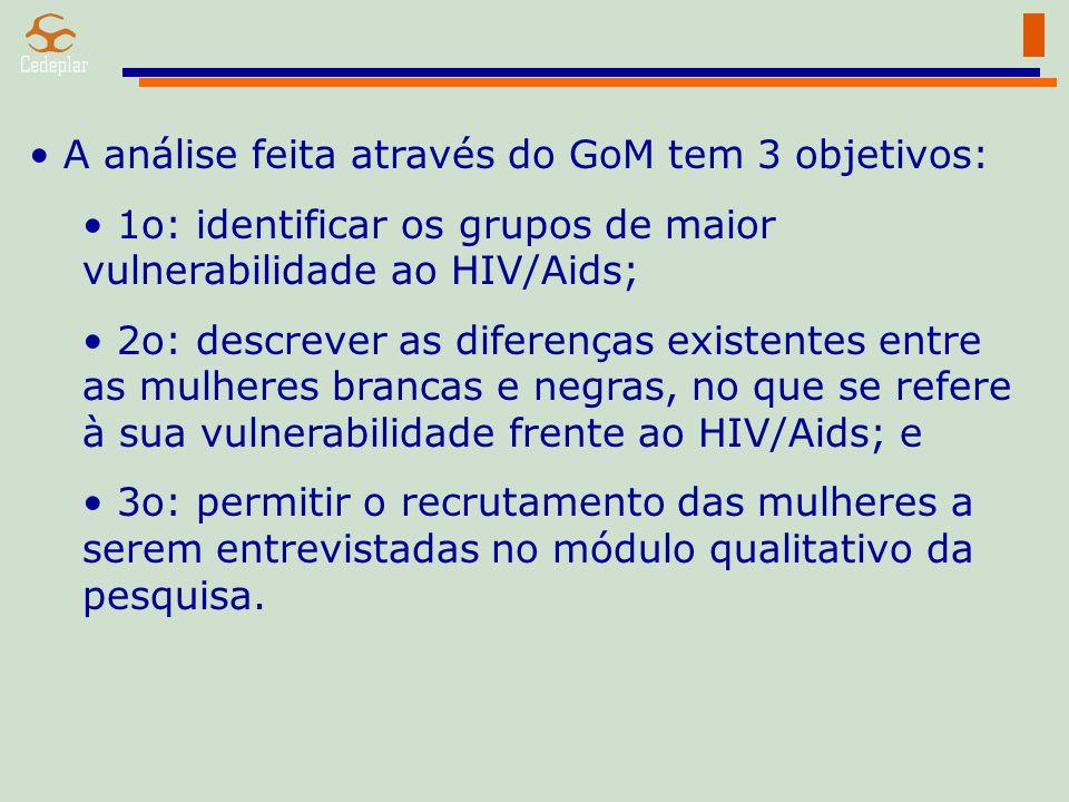 A análise feita através do GoM tem 3 objetivos: 1o: identificar os grupos de maior vulnerabilidade ao HIV/Aids; 2o: descrever as diferenças existentes