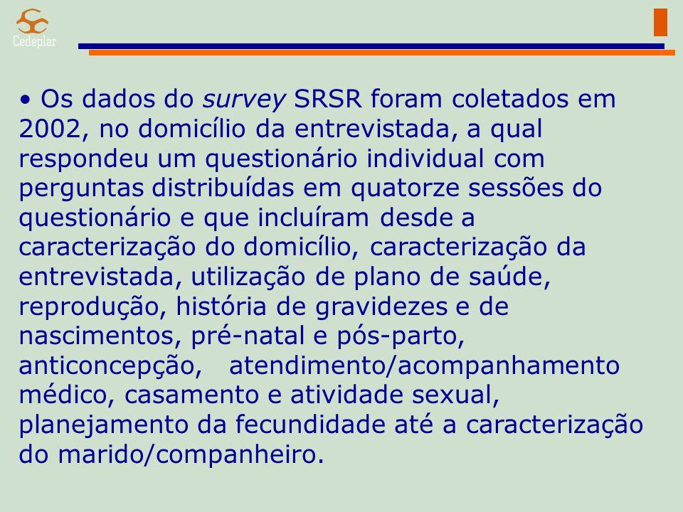 Os dados do survey SRSR foram coletados em 2002, no domicílio da entrevistada, a qual respondeu um questionário individual com perguntas distribuídas