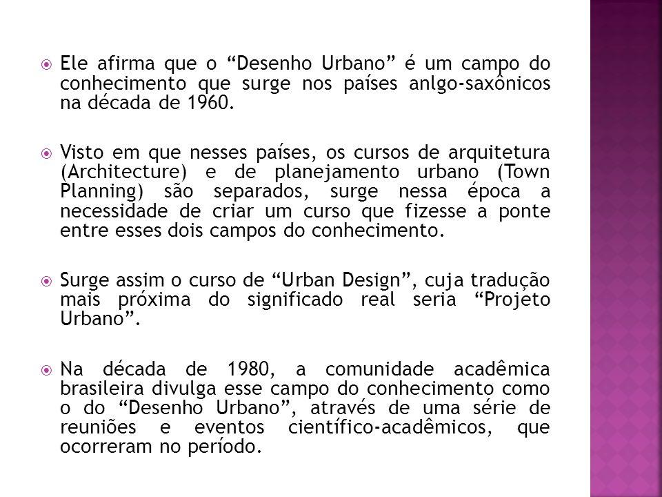 """ Ele afirma que o """"Desenho Urbano"""" é um campo do conhecimento que surge nos países anlgo-saxônicos na década de 1960.  Visto em que nesses países, o"""