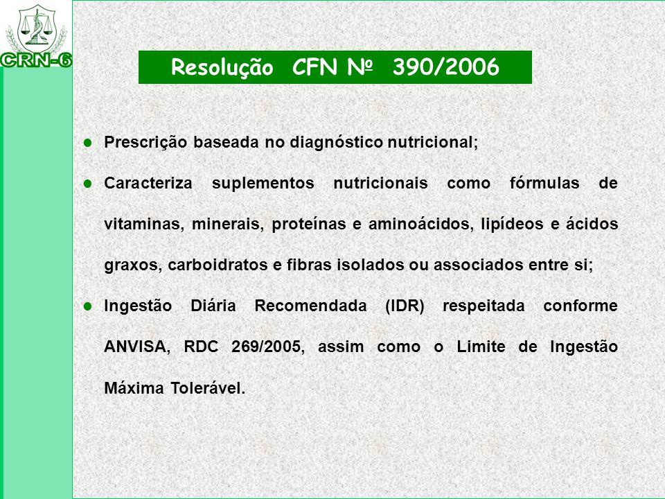 l Prescrição baseada no diagnóstico nutricional; l Caracteriza suplementos nutricionais como fórmulas de vitaminas, minerais, proteínas e aminoácidos,
