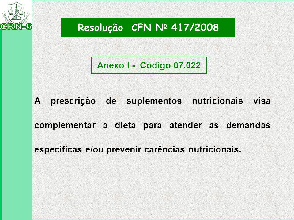 A prescrição de suplementos nutricionais visa complementar a dieta para atender as demandas específicas e/ou prevenir carências nutricionais. Resoluçã