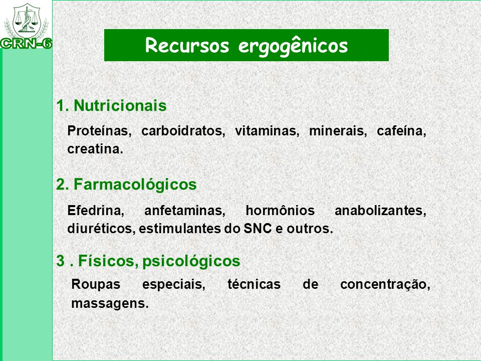1. Nutricionais Recursos ergogênicos Proteínas, carboidratos, vitaminas, minerais, cafeína, creatina. 3. Físicos, psicológicos Roupas especiais, técni
