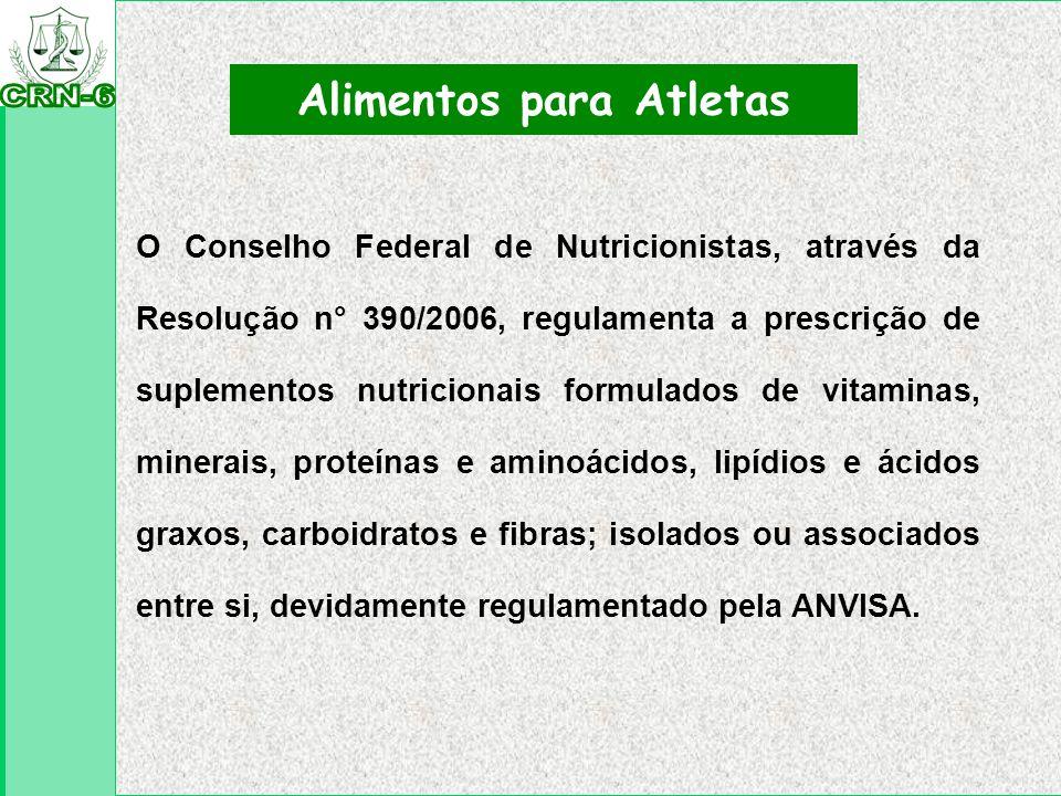 Resolução RDC n°18/2010 Alimentos para Atletas Classificação: I-suplemento hidroeletrolítico para atletas; II-suplemento energético para atletas; III-suplemento protéico para atletas; IV-suplemento para refeição parcial de atletas; V-suplementação de creatina para atletas; VI-suplementação de cafeína para atletas.