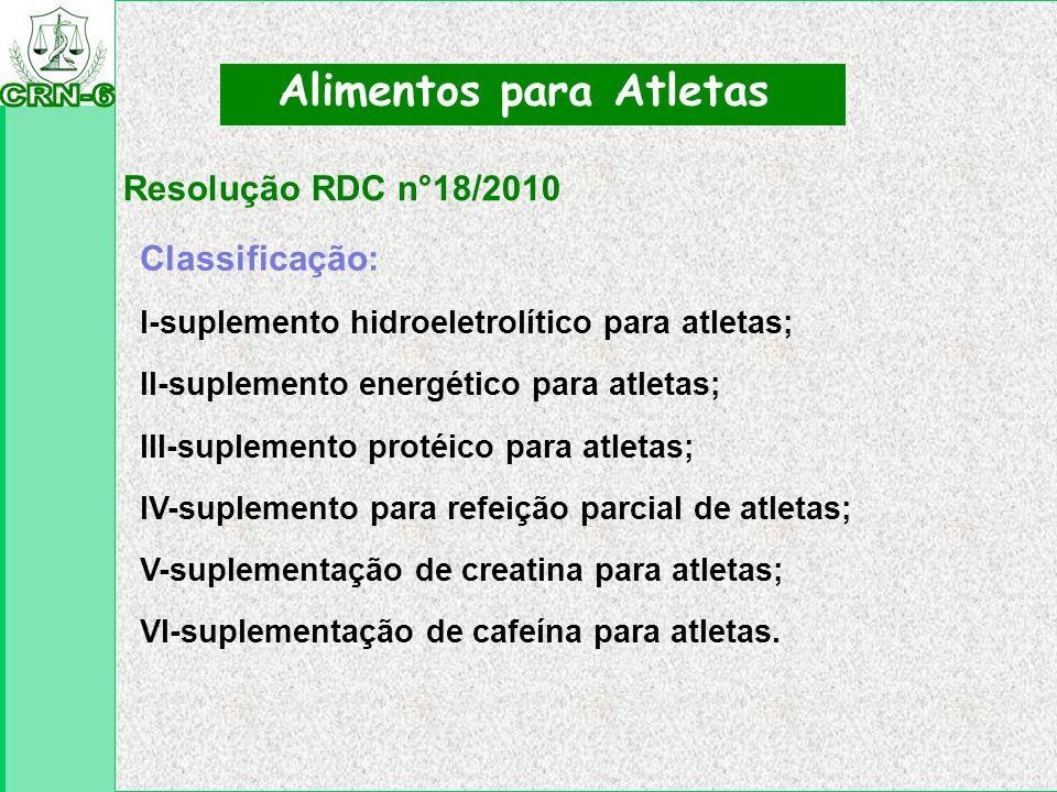 Resolução RDC n°18/2010 Alimentos para Atletas Classificação: I-suplemento hidroeletrolítico para atletas; II-suplemento energético para atletas; III-
