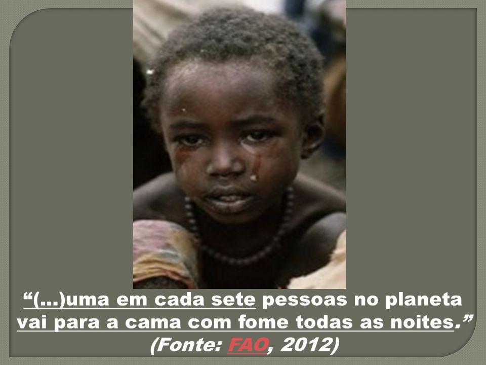 """""""(…)uma em cada sete pessoas no planeta vai para a cama com fome todas as noites."""" (Fonte: FAO, 2012)FAO"""