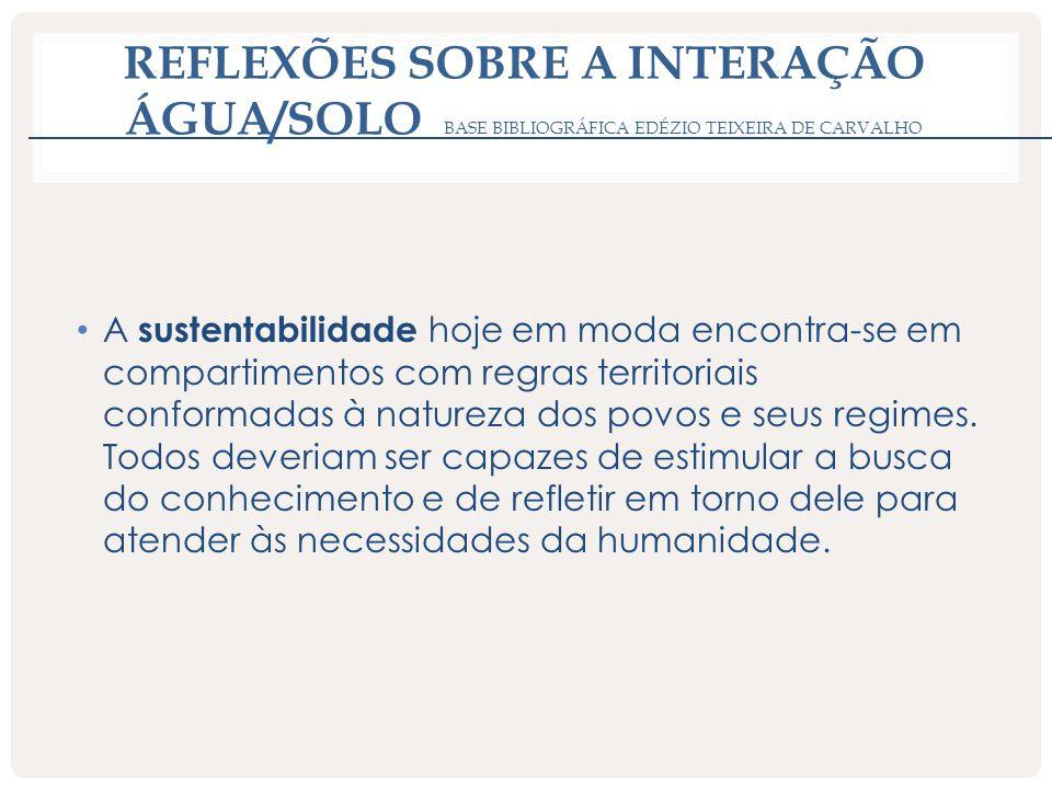 REFLEXÕES SOBRE A INTERAÇÃO ÁGUA/SOLO BASE BIBLIOGRÁFICA EDÉZIO TEIXEIRA DE CARVALHO A sustentabilidade hoje em moda encontra-se em compartimentos com