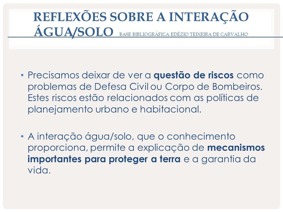 REFLEXÕES SOBRE A INTERAÇÃO ÁGUA/SOLO BASE BIBLIOGRÁFICA EDÉZIO TEIXEIRA DE CARVALHO Precisamos deixar de ver a questão de riscos como problemas de De