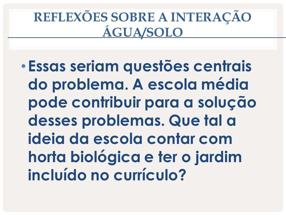 REFLEXÕES SOBRE A INTERAÇÃO ÁGUA/SOLO Essas seriam questões centrais do problema. A escola média pode contribuir para a solução desses problemas. Que