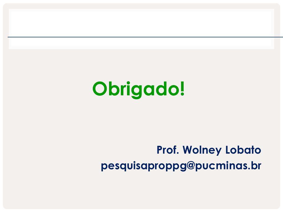 Obrigado! Prof. Wolney Lobato pesquisaproppg@pucminas.br