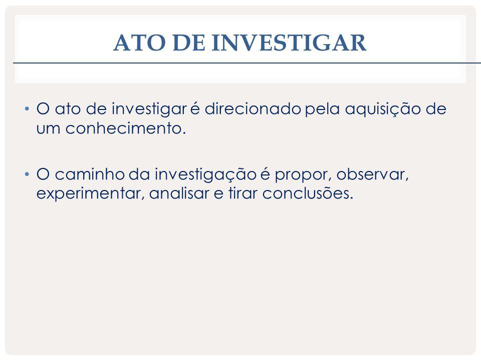 ATO DE INVESTIGAR O ato de investigar é direcionado pela aquisição de um conhecimento. O caminho da investigação é propor, observar, experimentar, ana