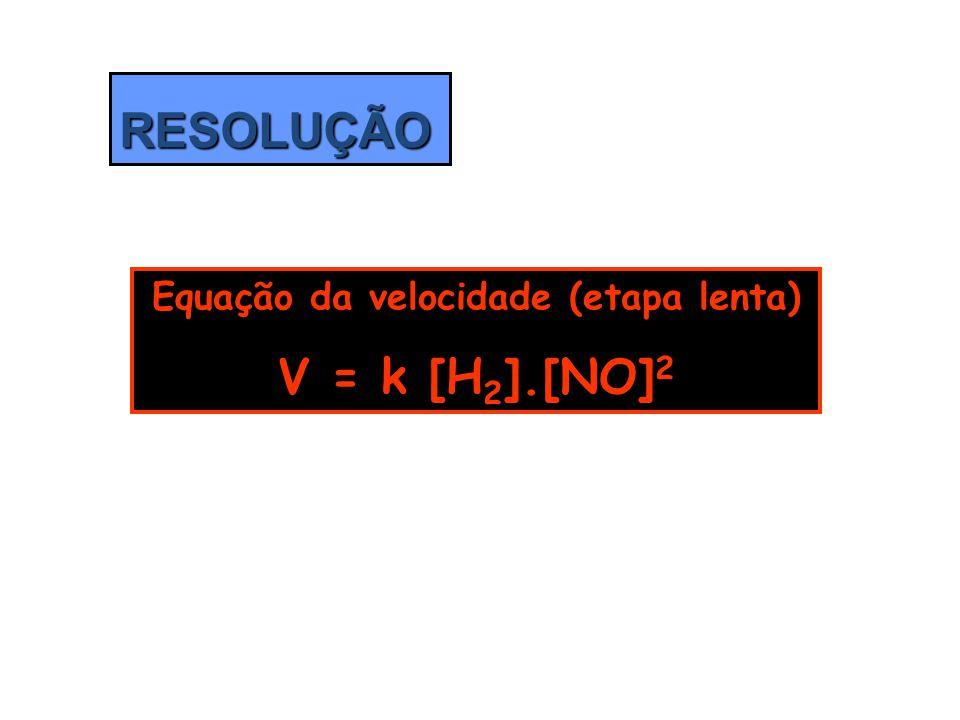 RESOLUÇÃO Equação da velocidade (etapa lenta) V = k [H 2 ].[NO] 2