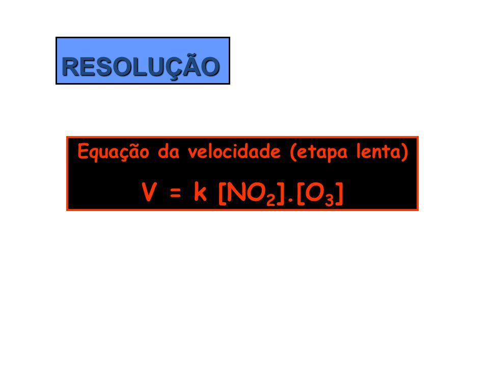 RESOLUÇÃO Equação da velocidade (etapa lenta) V = k [NO 2 ].[O 3 ]