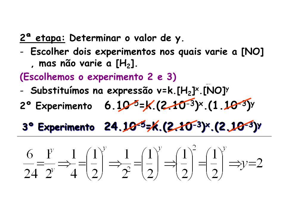 2ª etapa: Determinar o valor de y. -Escolher dois experimentos nos quais varie a [NO], mas não varie a [H 2 ]. (Escolhemos o experimento 2 e 3) -Subst