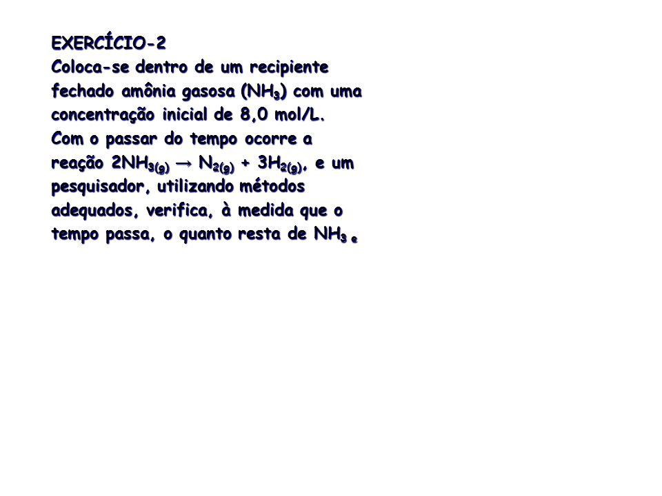 EXERCÍCIO-6 Determine a expressão da velocidade (segundo a Lei de Guldberg-Waage), supondo elementares: a) C 2 H 4(g) + H 2(g) → C 2 H 6(g) b) 3Cu (s) + 8HNO 3(aq) → 3Cu(NO 3 ) 2(aq) + 4H 2 O (l) + 2NO (g) Fonte: HARTWIG, D.R., SOUZA, E.