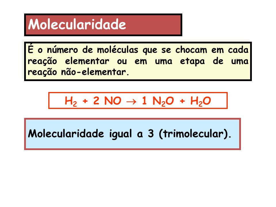 Molecularidade É o número de moléculas que se chocam em cada reação elementar ou em uma etapa de uma reação não-elementar. H 2 + 2 NO  1 N 2 O + H 2