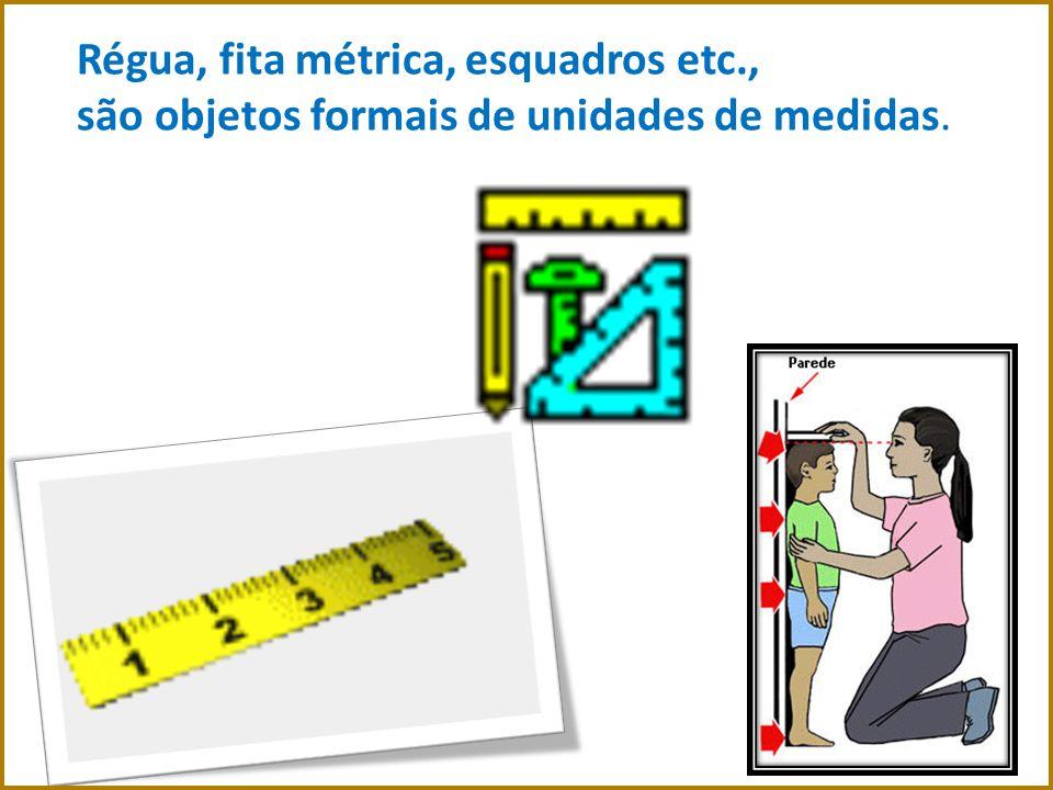 Régua, fita métrica, esquadros etc., são objetos formais de unidades de medidas.