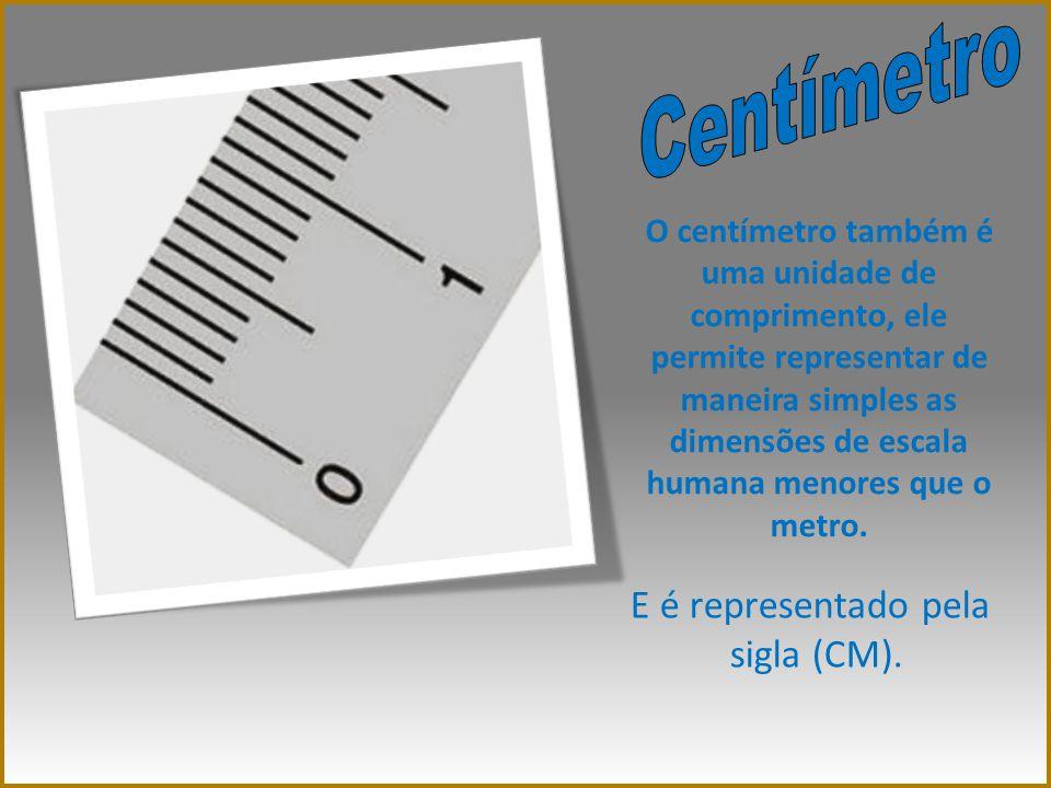 O centímetro também é uma unidade de comprimento, ele permite representar de maneira simples as dimensões de escala humana menores que o metro. E é re