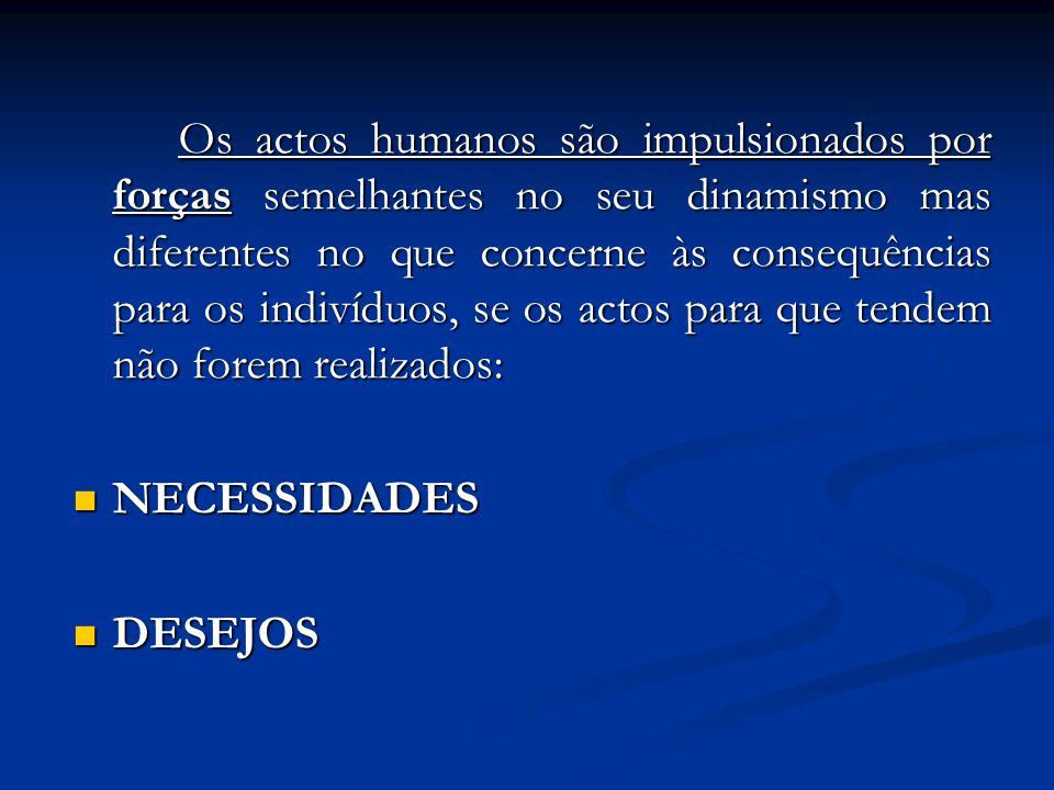 Os actos humanos são impulsionados por forças semelhantes no seu dinamismo mas diferentes no que concerne às consequências para os indivíduos, se os a