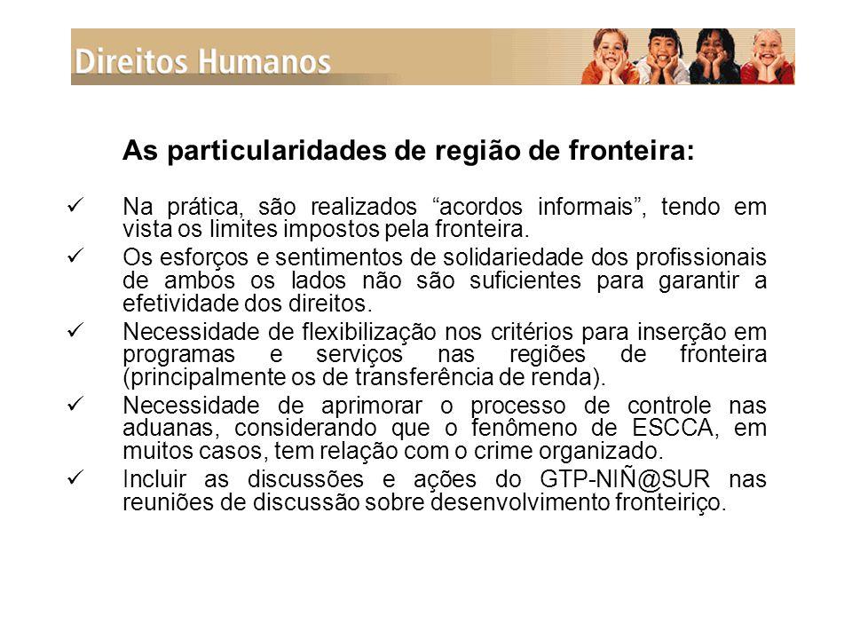 As particularidades de região de fronteira: Na prática, são realizados acordos informais , tendo em vista os limites impostos pela fronteira.