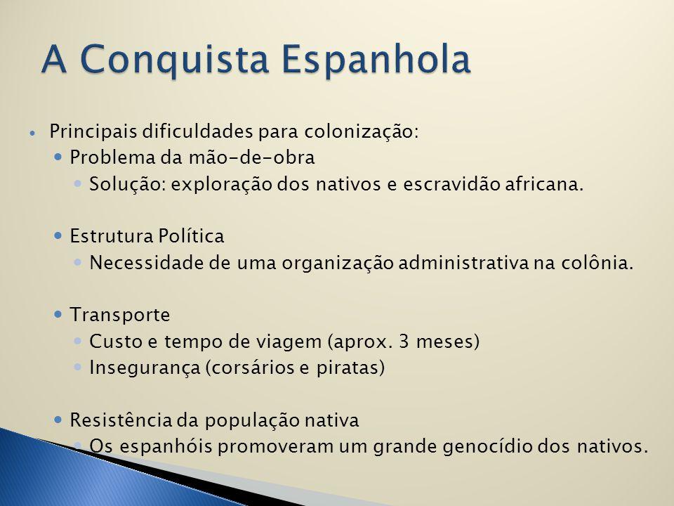 Principais dificuldades para colonização: Problema da mão-de-obra Solução: exploração dos nativos e escravidão africana. Estrutura Política Necessidad