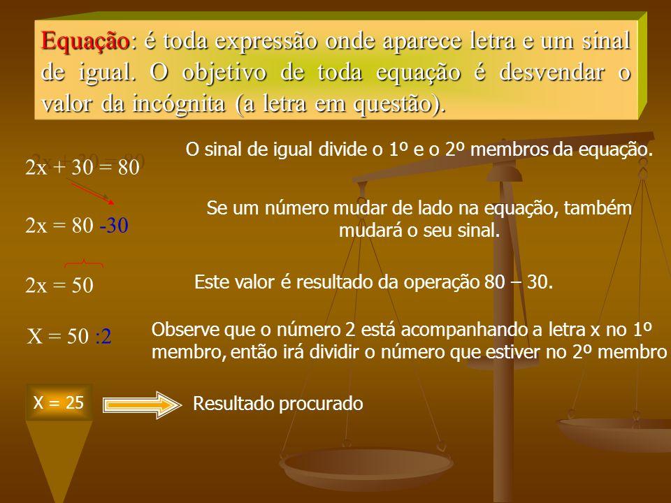 Equação: é toda expressão onde aparece letra e um sinal de igual. O objetivo de toda equação é desvendar o valor da incógnita (a letra em questão). 2x