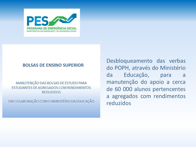 Desbloqueamento das verbas do POPH, através do Ministério da Educação, para a manutenção do apoio a cerca de 60 000 alunos pertencentes a agregados com rendimentos reduzidos