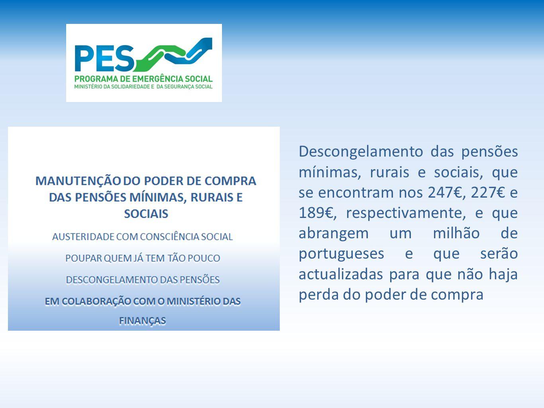 Descongelamento das pensões mínimas, rurais e sociais, que se encontram nos 247€, 227€ e 189€, respectivamente, e que abrangem um milhão de portugueses e que serão actualizadas para que não haja perda do poder de compra