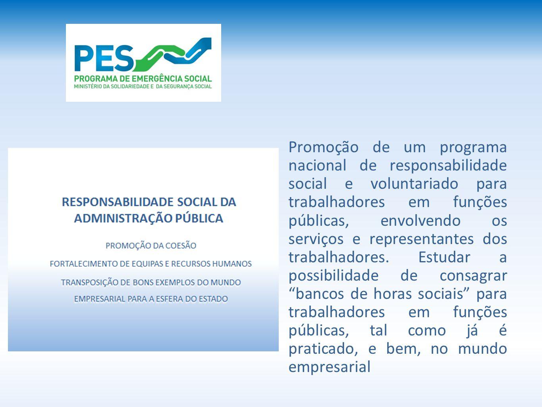Promoção de um programa nacional de responsabilidade social e voluntariado para trabalhadores em funções públicas, envolvendo os serviços e representantes dos trabalhadores.