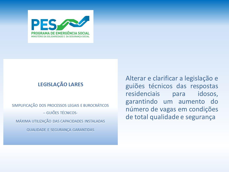 Alterar e clarificar a legislação e guiões técnicos das respostas residenciais para idosos, garantindo um aumento do número de vagas em condições de t