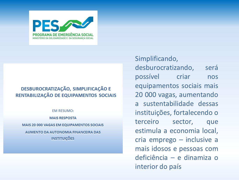 Simplificando, desburocratizando, será possível criar nos equipamentos sociais mais 20 000 vagas, aumentando a sustentabilidade dessas instituições, f