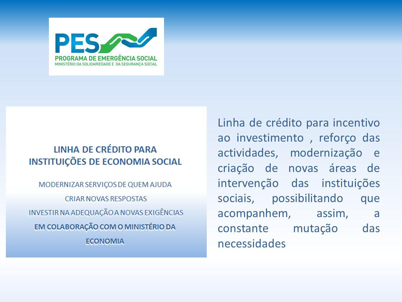 Linha de crédito para incentivo ao investimento, reforço das actividades, modernização e criação de novas áreas de intervenção das instituições sociais, possibilitando que acompanhem, assim, a constante mutação das necessidades