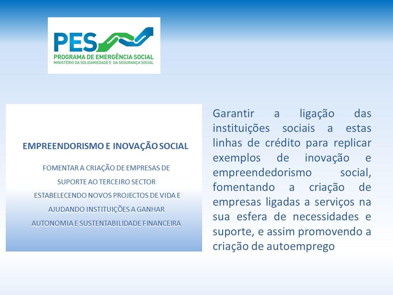 Garantir a ligação das instituições sociais a estas linhas de crédito para replicar exemplos de inovação e empreendedorismo social, fomentando a criaç