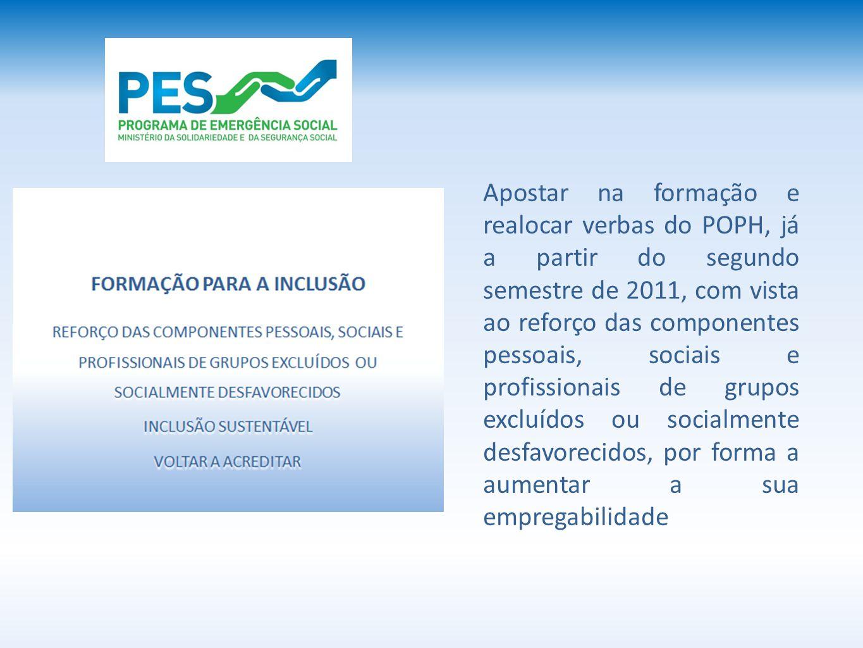 Apostar na formação e realocar verbas do POPH, já a partir do segundo semestre de 2011, com vista ao reforço das componentes pessoais, sociais e profissionais de grupos excluídos ou socialmente desfavorecidos, por forma a aumentar a sua empregabilidade