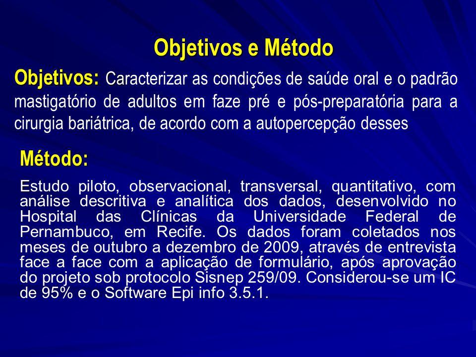Objetivos e Método Objetivos: Ca Objetivos: Caracterizar as condições de saúde oral e o padrão mastigatório de adultos em faze pré e pós-preparatória