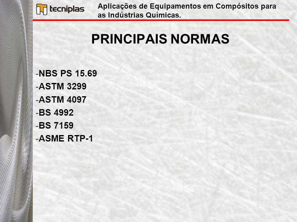 PRINCIPAIS NORMAS -NBS PS 15.69 -ASTM 3299 -ASTM 4097 -BS 4992 -BS 7159 -ASME RTP-1 Aplicações de Equipamentos em Compósitos para as Indústrias Químic
