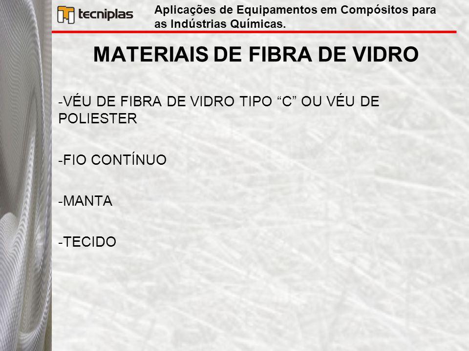 """MATERIAIS DE FIBRA DE VIDRO -VÉU DE FIBRA DE VIDRO TIPO """"C"""" OU VÉU DE POLIESTER -FIO CONTÍNUO -MANTA -TECIDO Aplicações de Equipamentos em Compósitos"""
