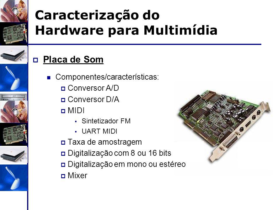 Caracterização do Hardware para Multimídia  Placa de Som Componentes/características:  Conversor A/D  Conversor D/A  MIDI  Sintetizador FM  UART