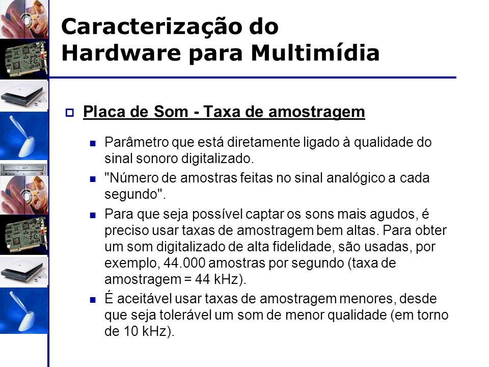 Caracterização do Hardware para Multimídia  Placa de Som - Taxa de amostragem Parâmetro que está diretamente ligado à qualidade do sinal sonoro digit