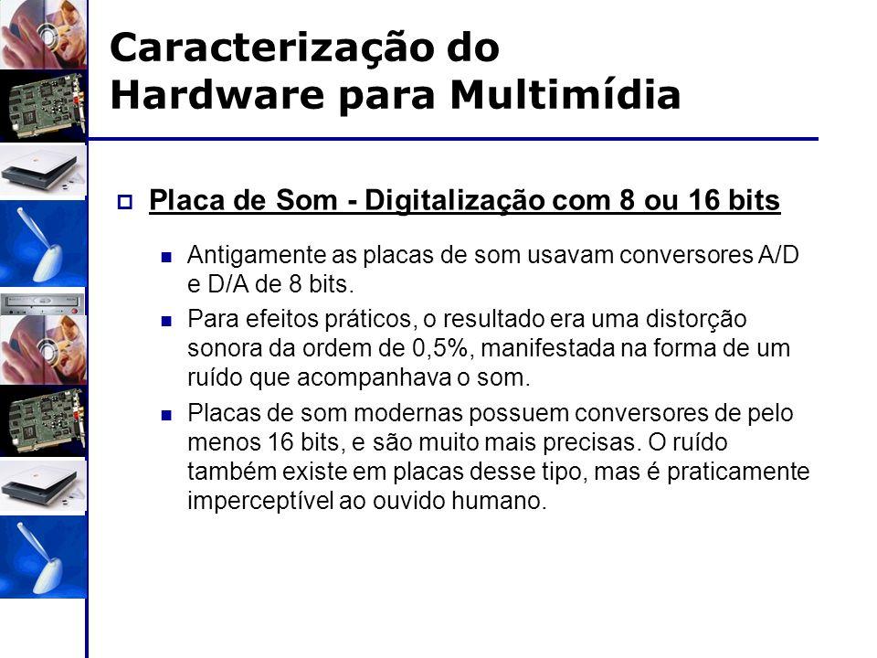 Caracterização do Hardware para Multimídia  Placa de Som - Digitalização com 8 ou 16 bits Antigamente as placas de som usavam conversores A/D e D/A d