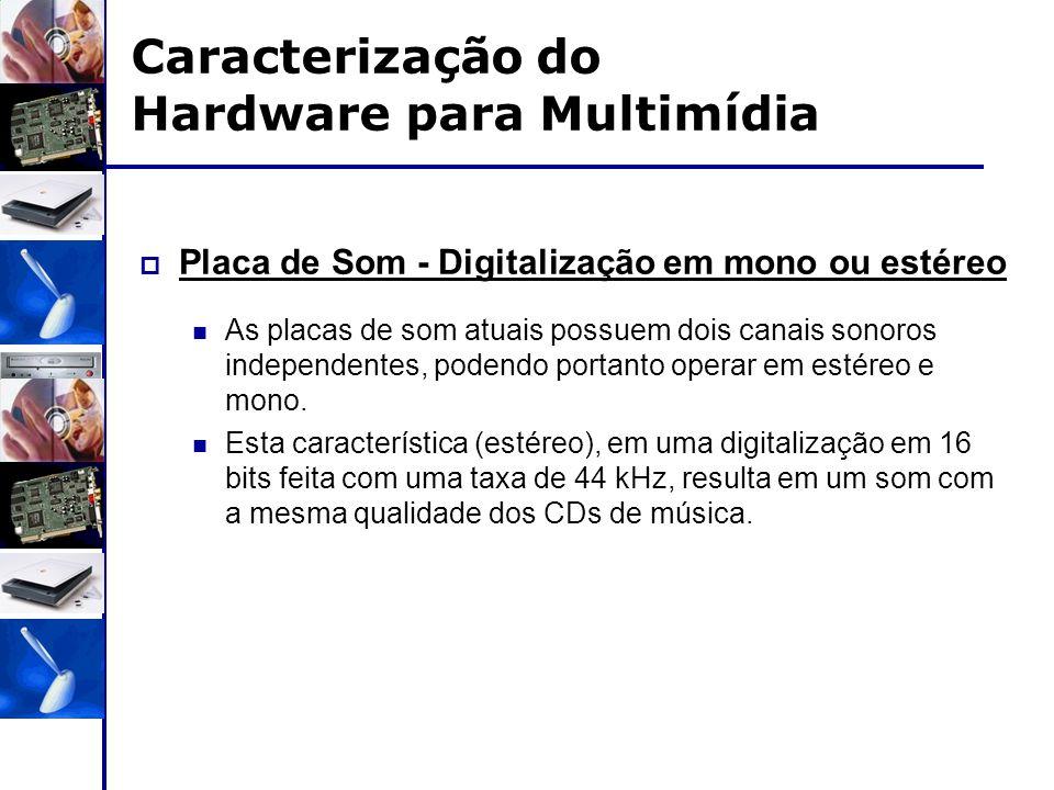 Caracterização do Hardware para Multimídia  Placa de Som - Digitalização em mono ou estéreo As placas de som atuais possuem dois canais sonoros indep