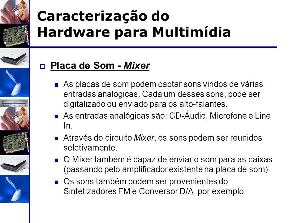 Caracterização do Hardware para Multimídia  Placa de Som - Mixer As placas de som podem captar sons vindos de várias entradas analógicas. Cada um des
