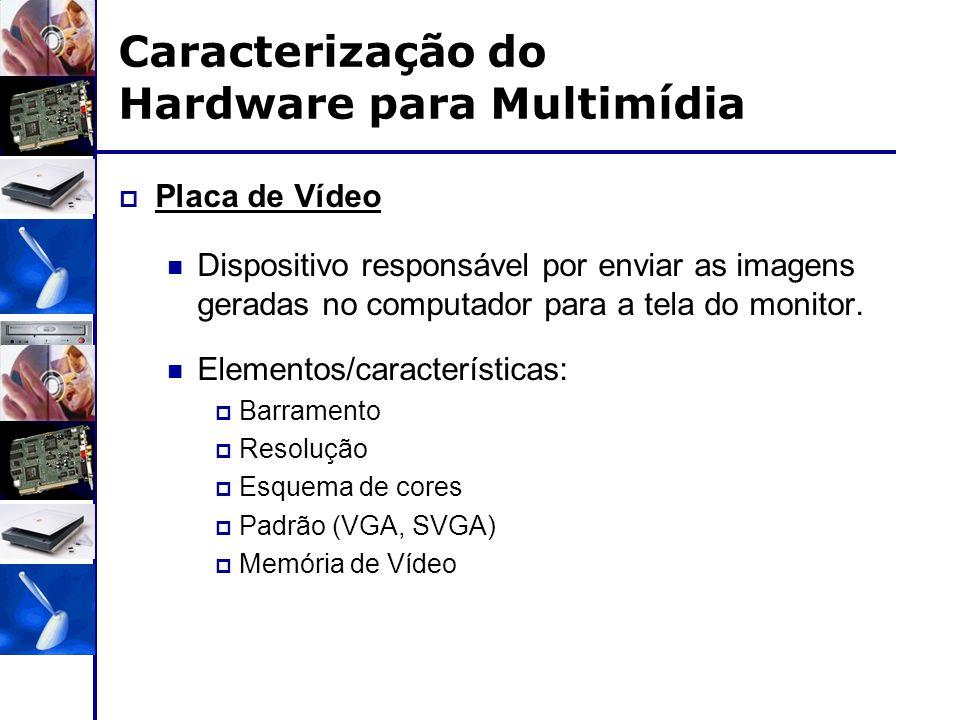 Caracterização do Hardware para Multimídia  Placa de Vídeo Dispositivo responsável por enviar as imagens geradas no computador para a tela do monitor