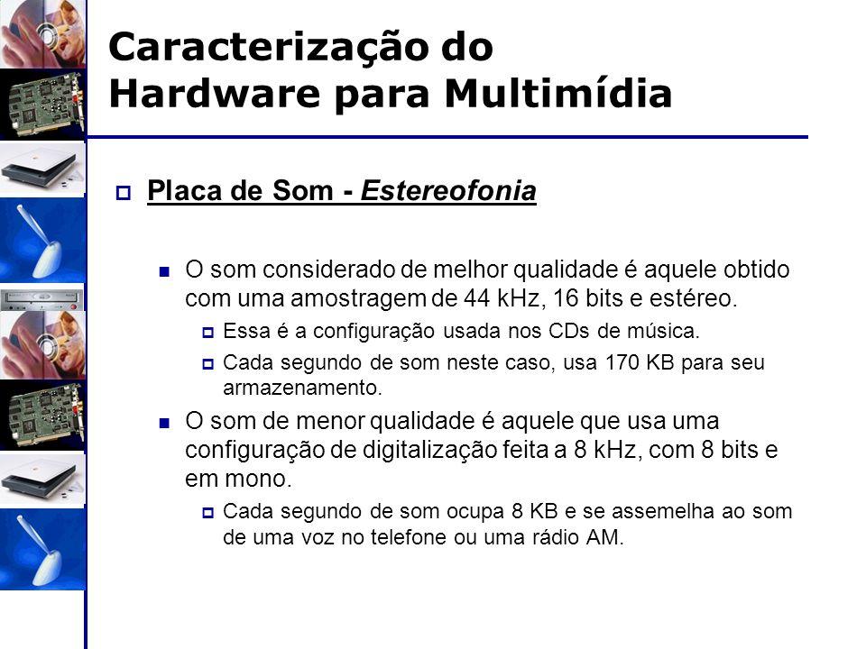 Caracterização do Hardware para Multimídia  Placa de Som - Estereofonia O som considerado de melhor qualidade é aquele obtido com uma amostragem de 4