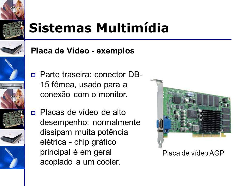 Sistemas Multimídia Placa de Vídeo - exemplos  Parte traseira: conector DB- 15 fêmea, usado para a conexão com o monitor.  Placas de vídeo de alto d