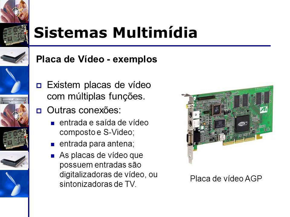 Sistemas Multimídia Placa de Vídeo - exemplos  Existem placas de vídeo com múltiplas funções.  Outras conexões: entrada e saída de vídeo composto e
